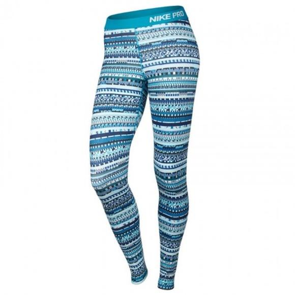 f36e0459b91a30 Nike Pants | Pro Warm 8bit Tights Leggings Blue Lagoon | Poshmark